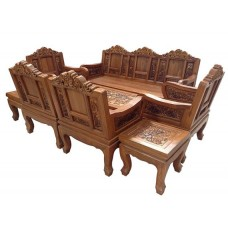Large living room furniture with elephant crafts.