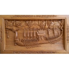 Large 3D panel with Thai rowboat crafts.