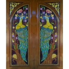 Double door with peacock II crafts.