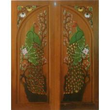 Double door with peacock and pumpkin crafts.