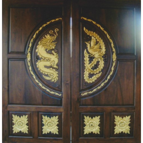 Double door with dragon and rooster II crafts. & teakwoodendoorwooddoorsinteriorexteriorfrontmaindesign ...