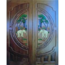Double door with elephants II crafts.