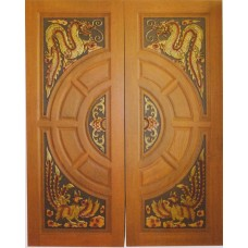 Double door with dragon and rooster 4 crafts.
