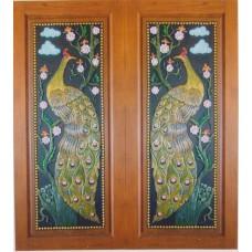 Double door with peacock crafts.