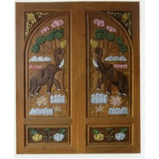 Double door with elephant and pumpkin crafts.