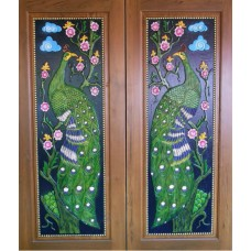 Double door with peacock I crafts.