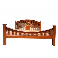 Bed frame with flower crafts.