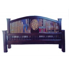 Bed frame with grape crafts.