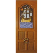 Single door with barque crafts.