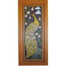 Single door with peacock crafts.