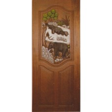 Single door with elephant in forest crafts.